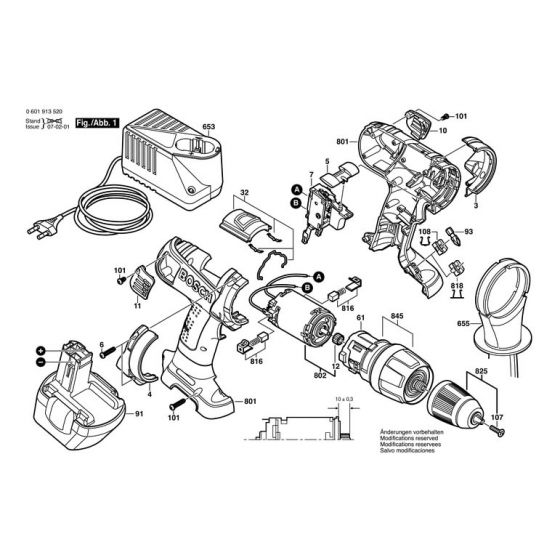 Bosch GSB 12 VE-2 Type: 06019525AE Spare Parts List