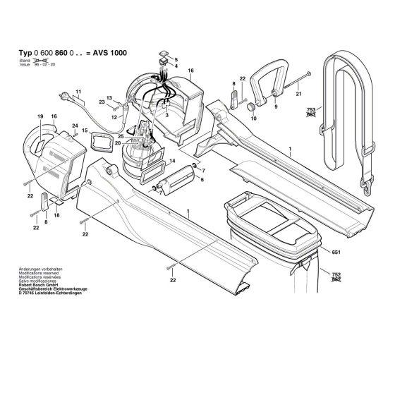 Bosch AVS 1000 Spare Parts List Type: 0 600 860 033