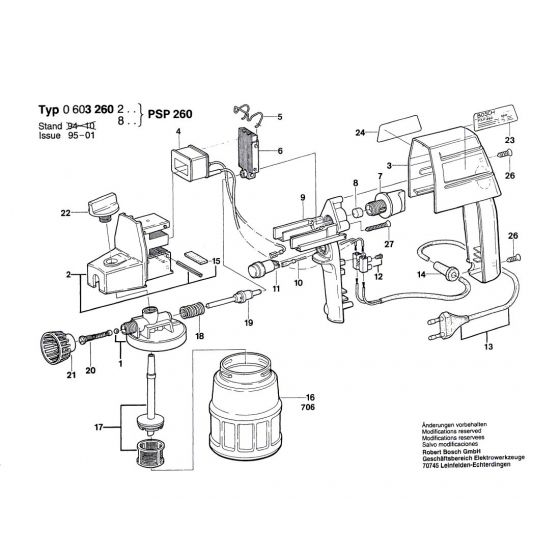 Bosch PSP 260 Spare Parts List Type: 0 603 260 248