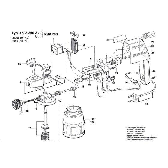 Bosch PSP 260 Spare Parts List Type: 0 603 260 834