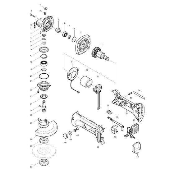 Makita BGA452 Spare Parts List