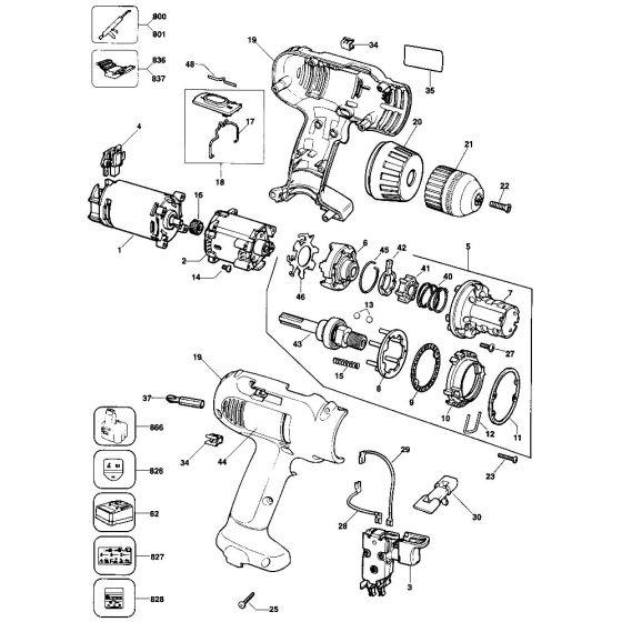 Dewalt DW912 Spare Parts List Type 1
