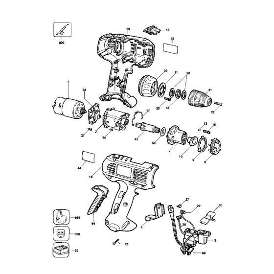 Dewalt DW922K Spare Parts List Type 1-2