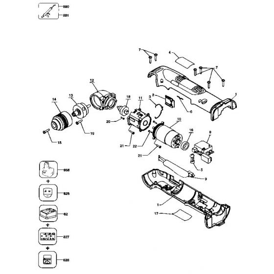 Dewalt DW965 Spare Parts List Type 1