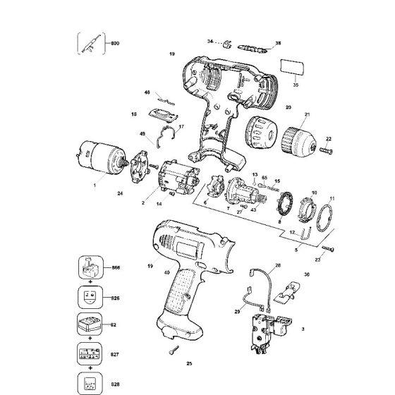 Dewalt DW953K Spare Parts List Type 2