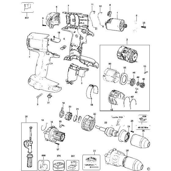 Dewalt DC945K Spare Parts List Type 10