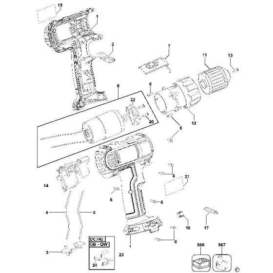 Dewalt DC740 Spare Parts List Type 3