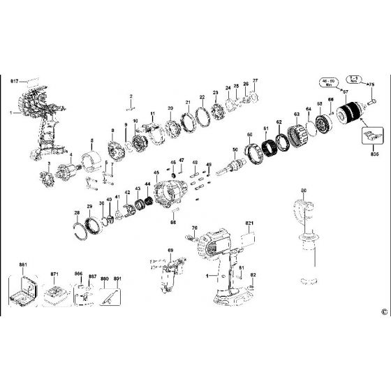 Dewalt DCD945 Spare Parts List Type 11