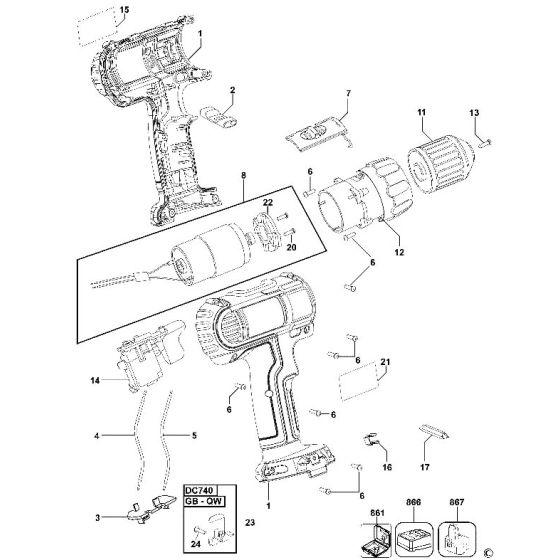 Dewalt DC740 Spare Parts List Type 4