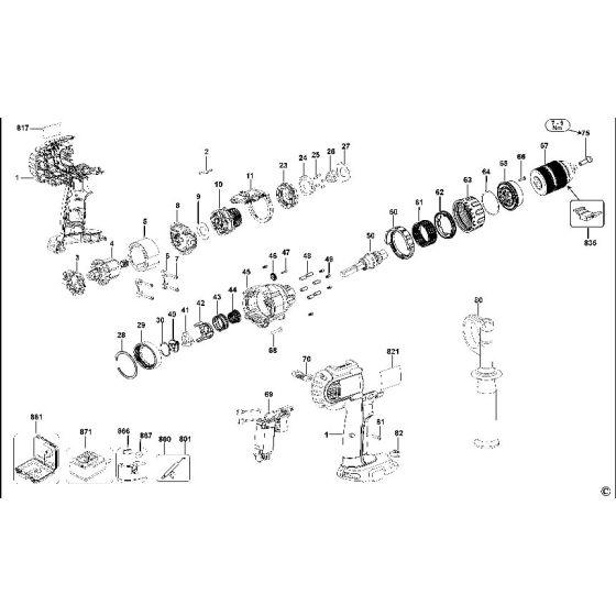 Dewalt DCD945 Spare Parts List Type 12