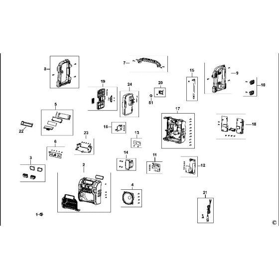 Dewalt DCR020 Spare Parts List Type 1