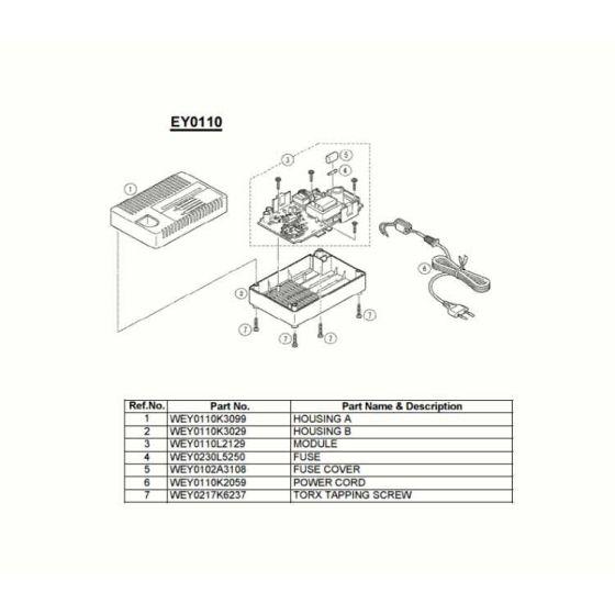 Panasonic EY0110 Spare Parts List