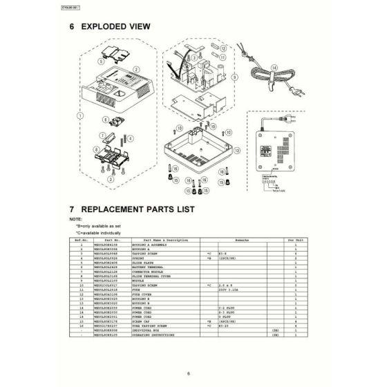 Panasonic EY0L80 Spare Parts List
