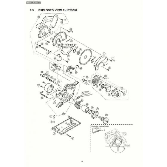Panasonic EY3552 Spare Parts List