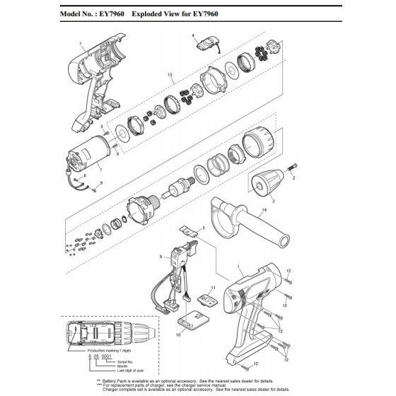 Panasonic EY7960 Spare Parts List