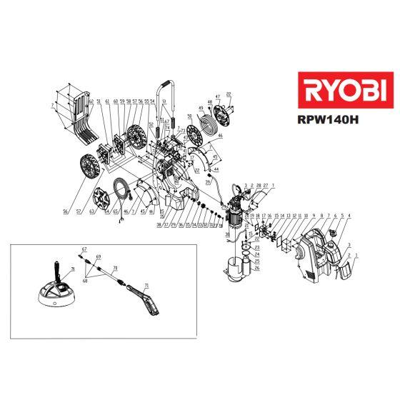 Ryobi RPW140H COVER  5131029080 - 5131000000 Spare Part