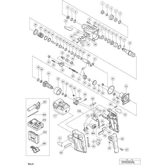 Hitachi DH25DAL Spare Parts List