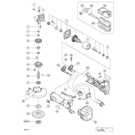 Hitachi G14DL Spare Parts List