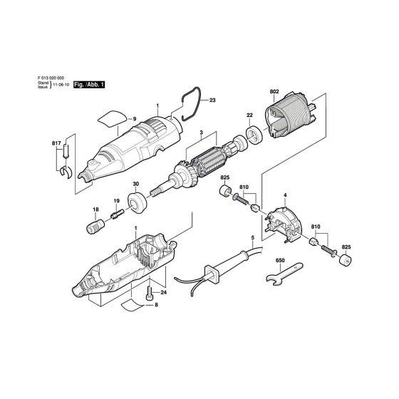 Dremel 200 Spare Parts List Type: F 013 020 001