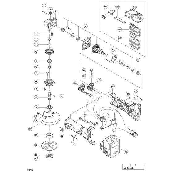 Hitachi G18DL Spare Parts List