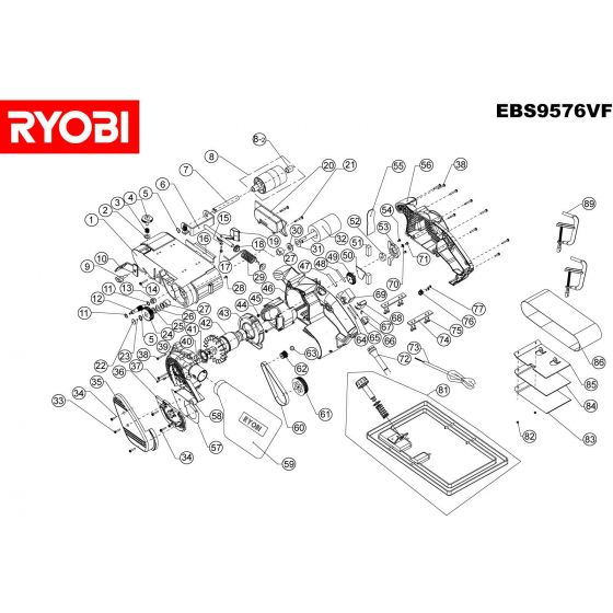 Buy A Ryobi EBS9576VF  Spare part or Replacement part for Your Belt Sander and Fix Your Machine Today