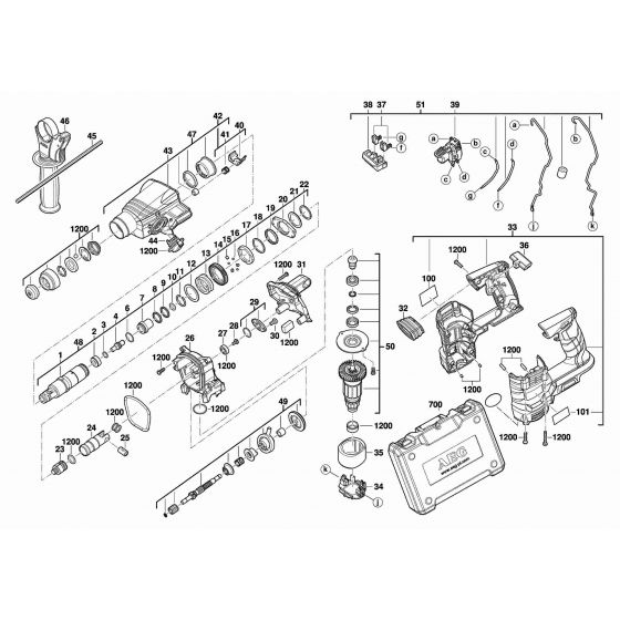 Buy A AEG BBH180  Spare part or Replacement part for Your SDS Combi Hammer and Fix Your Machine Today