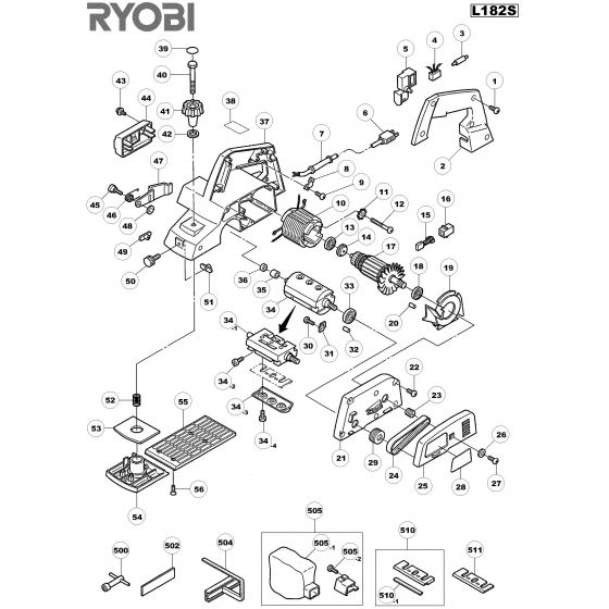 Buy A Ryobi L182STC  Spare part or Replacement part for Your Planer and Fix Your Machine Today