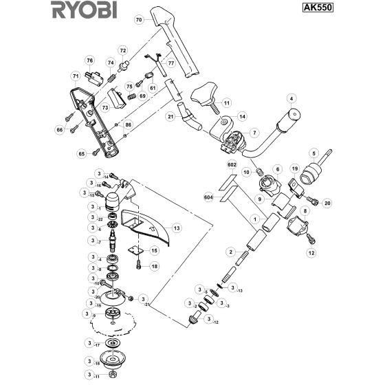 Ryobi AK550 Spare Parts List Type: 1000017492