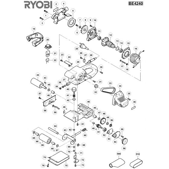 Buy A Ryobi BE424  Spare part or Replacement part for Your Belt Sander and Fix Your Machine Today