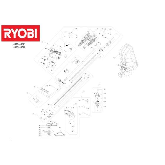 Ryobi RBC18X20B4 Spare Parts List Type: 513300528